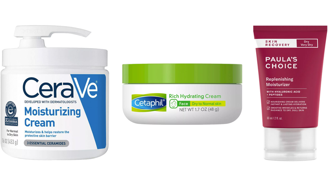 item 1 of Gallery image - (De izq. a der.) CeraVe Moisturizing Cream for Normal to Dry Skin; Cetaphil Rich Hydrating Cream; Paula's Choice Skin Recovery Replenishing Moisturizer with Hyaluronic Acid + Peptides for Dry/Very Dry