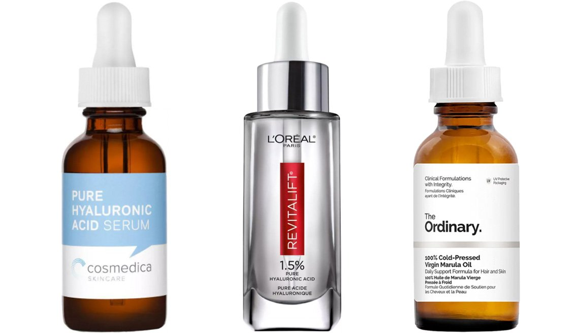 item 3, Gallery image. (Left to right) Cosmedica Skincare Pure Hyaluronic Acid Serum; L'Oreal Paris Revitalift Derm Intensives Hyaluronic Acid Facial Serum; The Ordinary 100% Cold Pressed Virgin Marula Oil