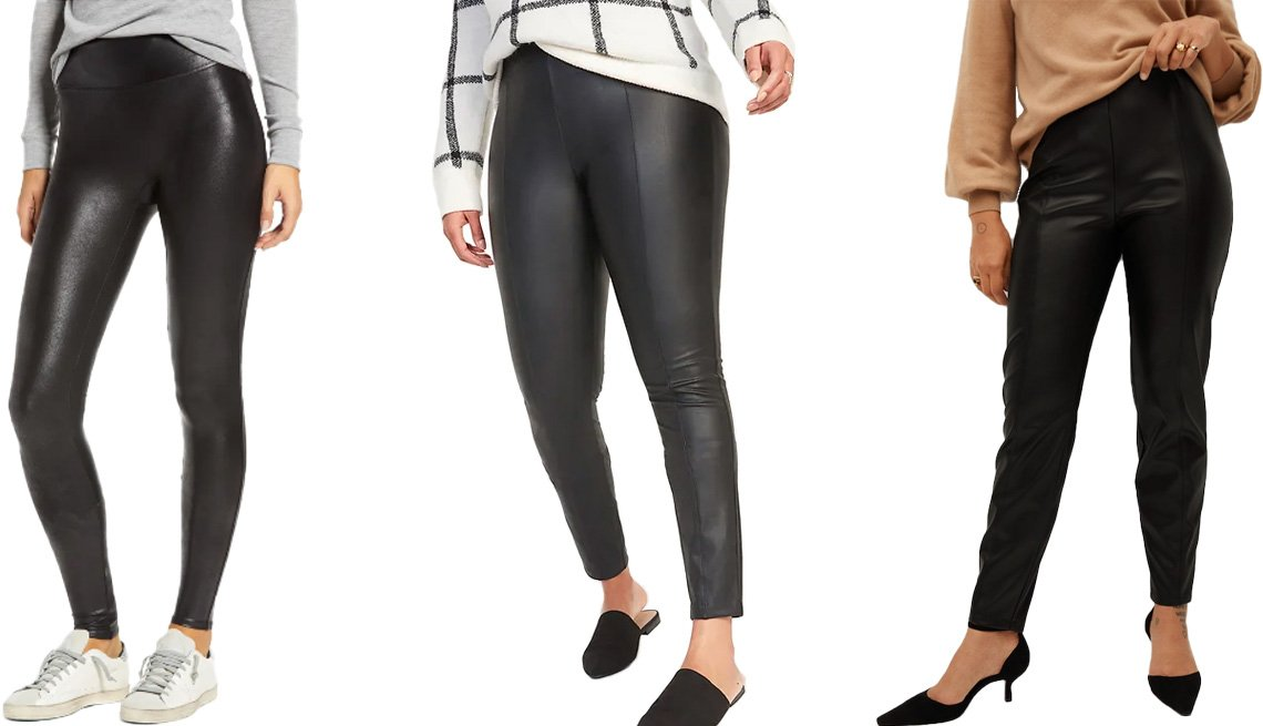 item 1, Gallery image. (Left to right) Spanx Faux Leather Leggings in very black; Old Navy High-Waisted Stevie Faux-Leather Pants for Women in pleather; Violeta by Mango Faux Leather Leggings in black