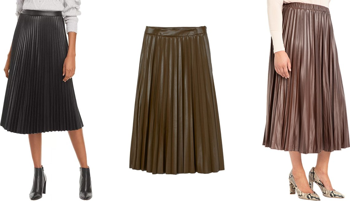 item 5, Gallery image. (Left to right) Lucy Paris Faux Leather Pleated Skirt; H&M Faux Leather Skirt in khaki green; Eloquii Pleated Faux Leather Skirt in melted chocolate