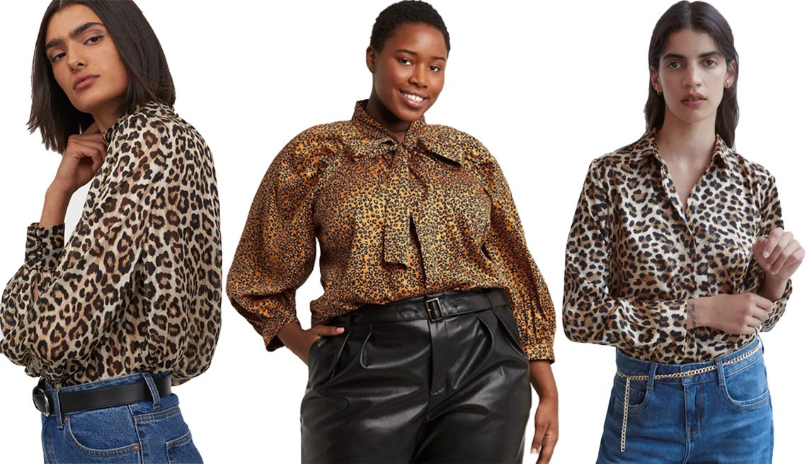 item 8, Gallery image. (Left to right) H&M Wide-Cut Blouse in light beige/leopard print; Who What Wear Women's Long Sleeve Soft Bow Blouse in brown; Zara Long Animal Print Shirt