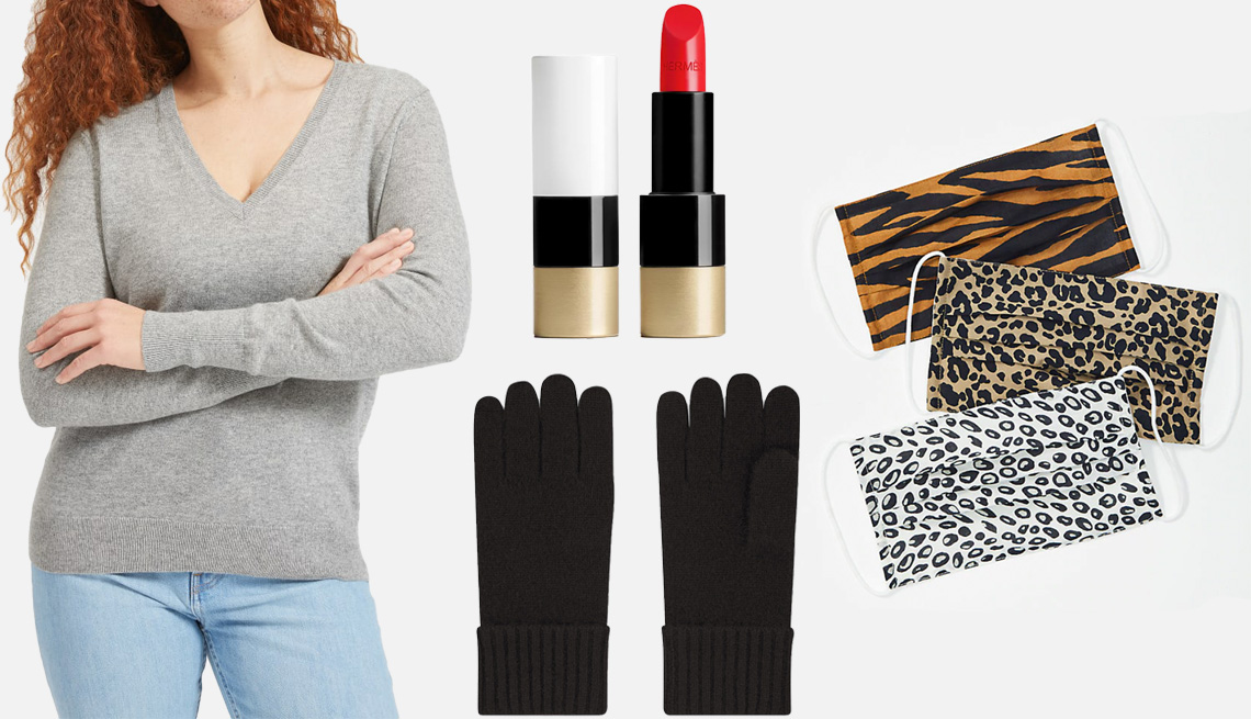 item 6, Gallery image. Everlane Cashmere V-Neck in heather grey (left); Hermès Rouge Hermes Satin Lipstick in rouge casaque (middle top); Uniqlo Cashmere Knitted Gloves in 09 black (middle bottom); Loft Face Masks (right)