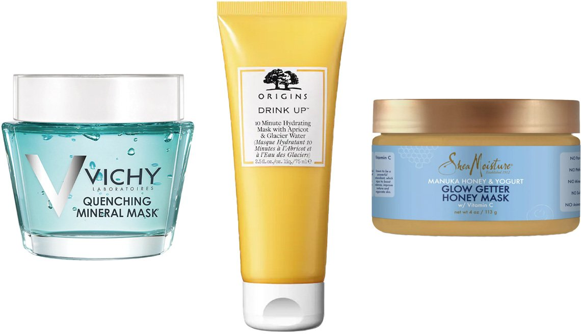item 6, Gallery image. (Left to right) Vichy Quenching Mineral Mask; Origins Drink Up 10 Minute Hydrating Mask; SheaMoisture Manuka Yogurt & Honey Glow Getter Honey Mask
