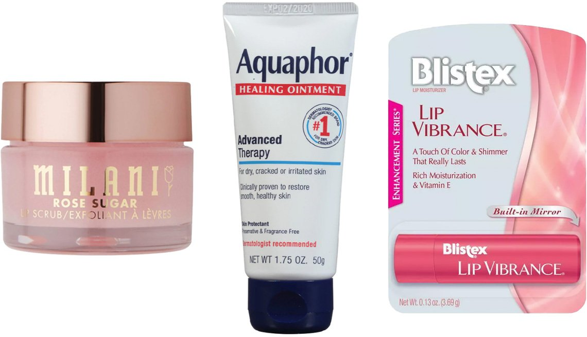 item 10, Gallery image. (Left to right) Milani Rose Sugar Lip Scrub; Aquaphor Healing Ointment; Blistex Lip Vibrance Lip Balm