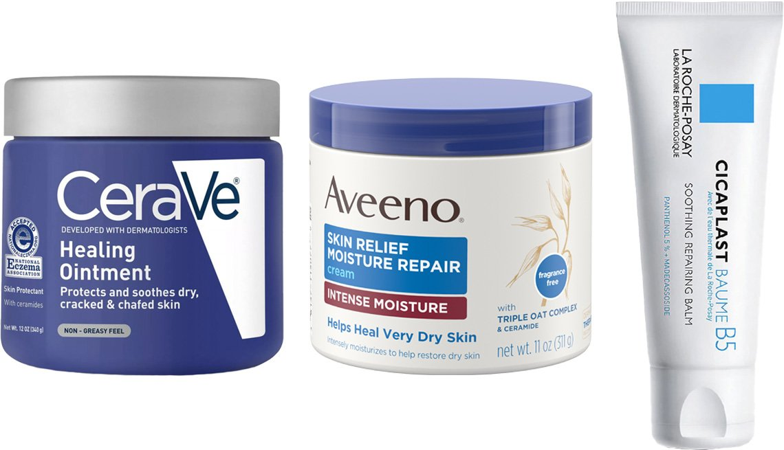 item 4, Gallery image. (Left to right) CeraVe Healing Ointment for Dry and Chaffed Skin; Aveeno Skin Relief Moisture Repair Cream; La Roche-Posay Cicaplast Baume B5 Soothing Multi Purpose Cream for Dry Skin