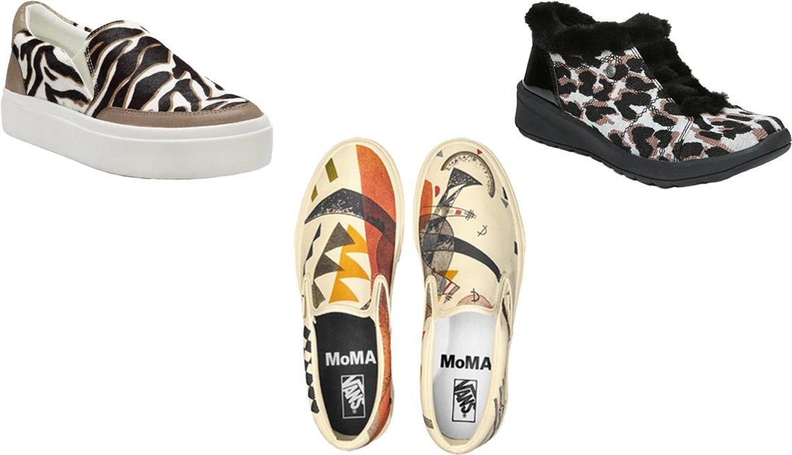 item 10, Gallery image. (Clockwise from top left) Lucky Brand Takato Platform Slip-On Sneaker in lace/latte calf hair; Bzees Golden Fur Trim Washable Slip On Sneakers in black leopard; Vans X MoMA Vasily Kandinsky Classic Slip-On Sneaker