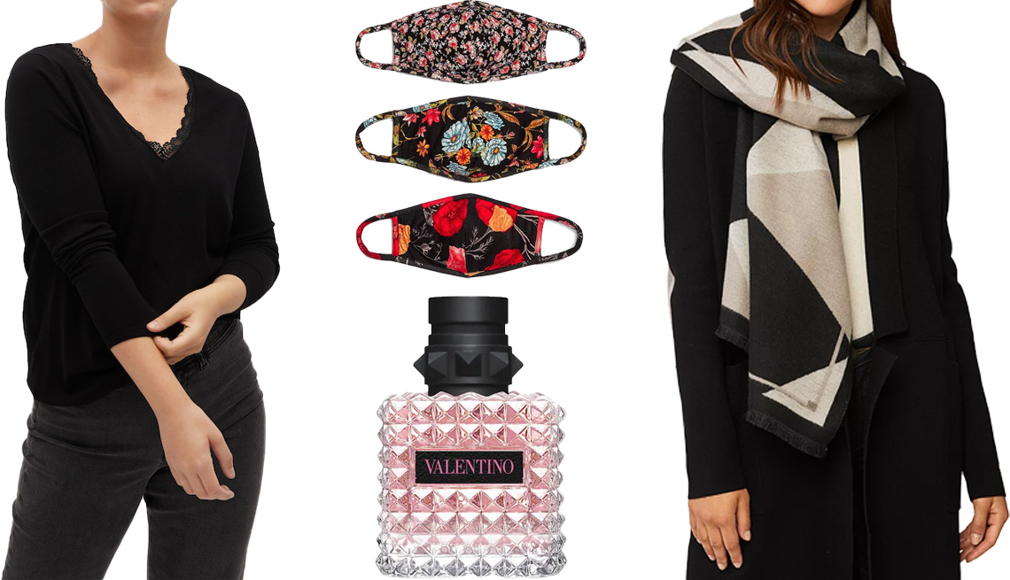 item 10, Gallery image. (Clockwise from left) Violeta by Mango Lace Detail Sweater in black; ASTR the Label Floral Face Masks; Soia and Kyo Ashlyn Woven Color Blocked Scarf in fawn; Valentino Donna Born in Roma Eau de Parfum Spray