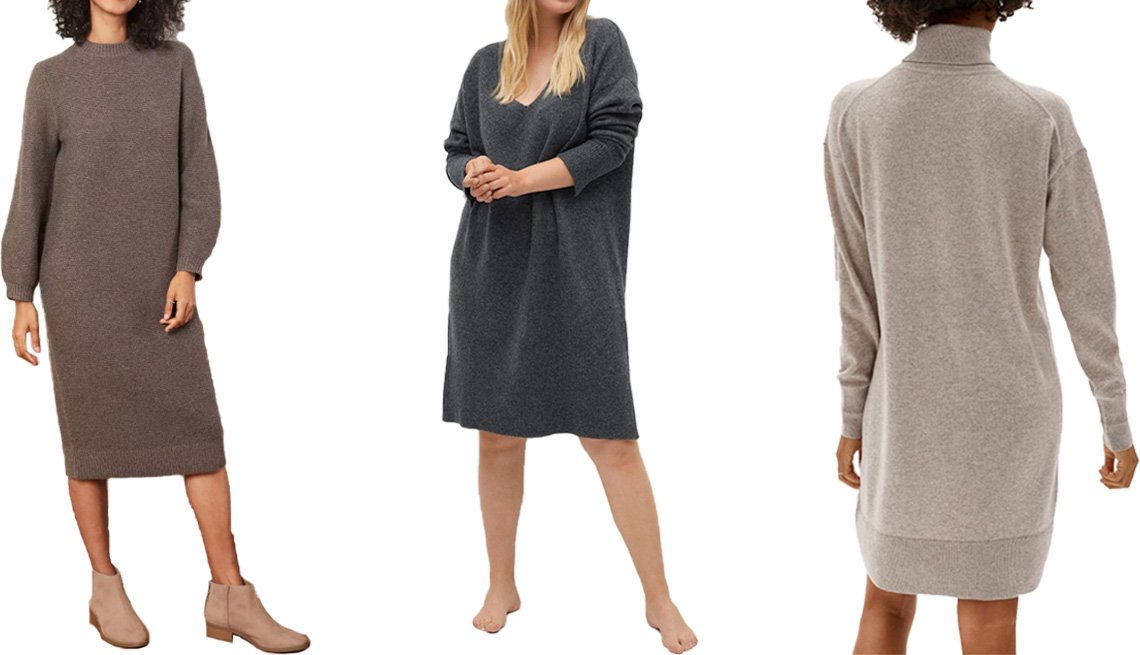 item 2, Gallery image. (Left to right) Prologue Women's Balloon Long Sleeve Sweater Dress in brown; Violeta by Mango Knit Midi Dress in dark heather gray; Everlane The Cashmere Turtleneck Dress in oatmeal