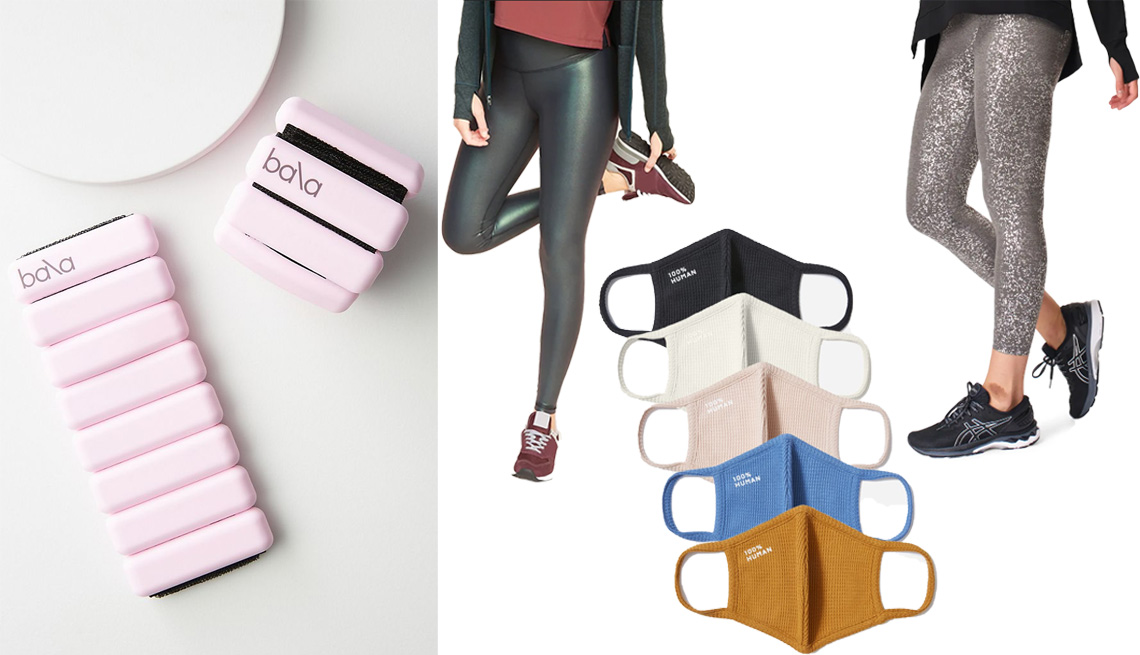 item 2, Gallery image. (Left to right) Bala Weighted Bangle Set in pink; Old Navy Extra High-Waisted Powersoft Light Compression Hidden-Pocket Leggings for Women in emerald shimmer; Everlane The 100% Human Face Mask 5-Pack; Sweaty Betty Contour 7/8 Leggings in gray terrazzo foil print