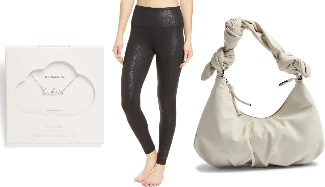 item 5, Gallery image. (Left to right) Estella Bartlett Badass Silvertone Pendant Necklace; Zella Live In Metallic Print High Waist Leggings in black reptile impression print; Topshop Knotted Half Moon Faux Leather Shoulder Bag in cream