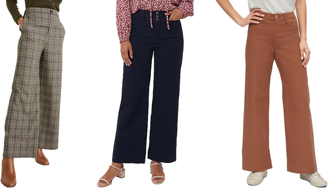 item 4, Gallery image. (Left to right) Madewell Huston Pull-On Full-Length Pants in miltmore plaid; Loft Button Front High Waist Wide Leg Crop Pants in forever navy; Gap High-Rise Wide Leg Pants in summer spice brown