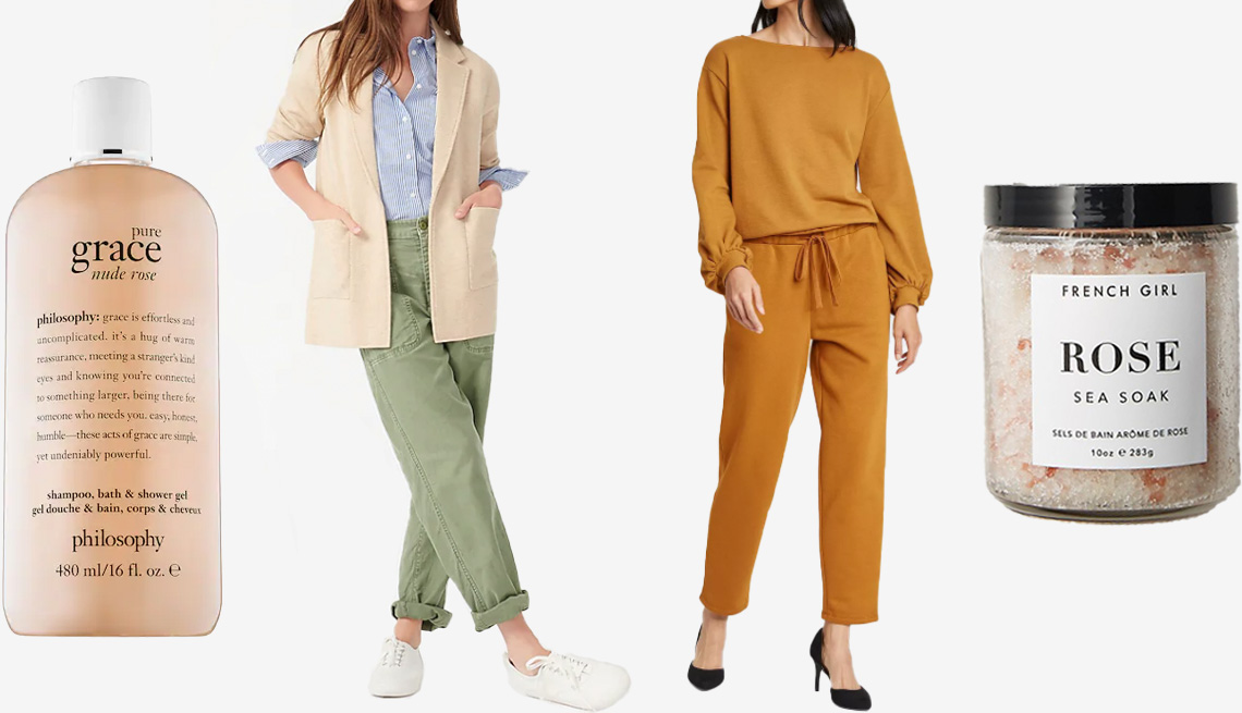 item 8, Gallery image. (Left to right) Philosophy Grace Nude Rose Shampoo, Bath & Shower Gel; (Left to right) J.Crew Sophie Open-Front Sweater-Blazer in hthr natural; Who What Wear Women's Mid-Rise Regular Fit Jogger Pants in brown; French Girl Organics Rose Sea Soak