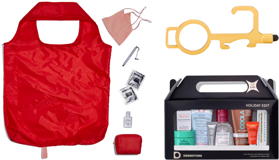 item 11 of Gallery image - Pinch Provisions Errand Kit; Olivia Miller No-Touch Door Opener in gold; Dermstore Holiday Box