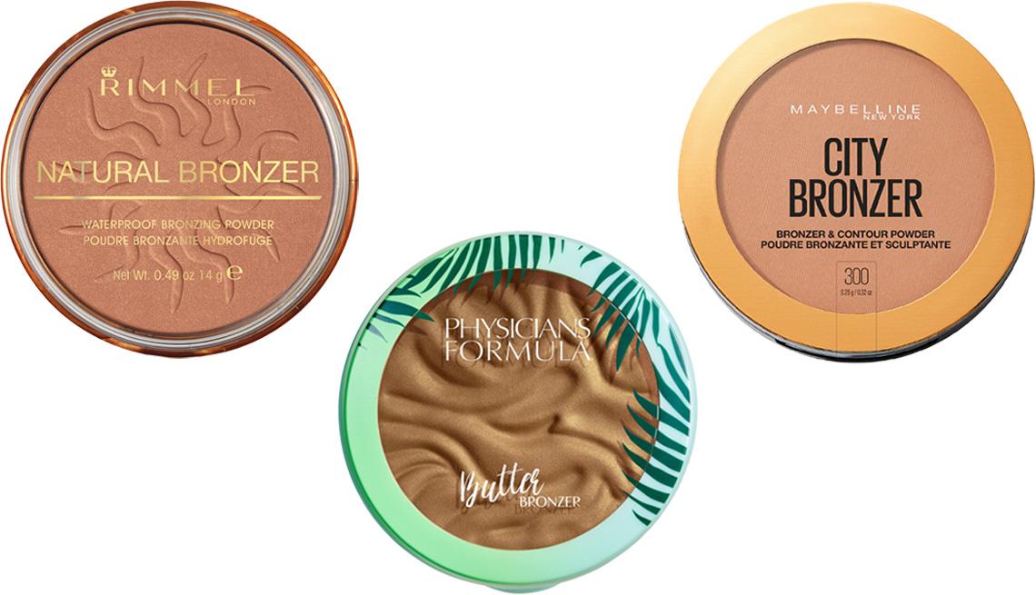 item 6 of Gallery image - Rimmel Natural Bronzer in sun dance; Physicians Formula Murumuru Butter Bronzer in brazilian glow; Maybelline City Bronzer and Contour Powder in 300