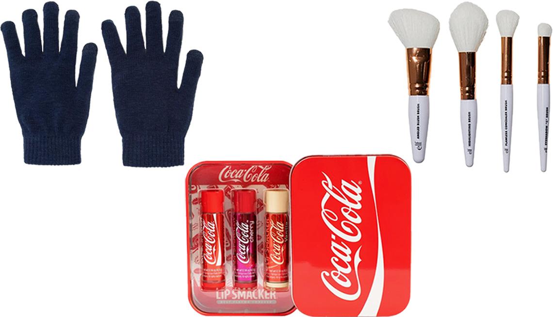 item 4 of Gallery image - Wild Fable Women's Tech Touch Magic Gloves; e.l.f. Rose Gold Travel Brush Kit; Lip Smacker Coca-Cola Lip Balm Tin