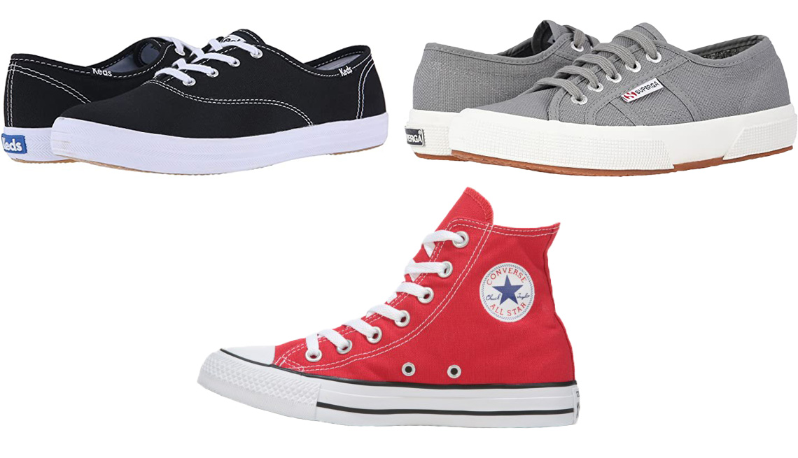 item 1 of Gallery image - Keds Champion-Canvas CVO in Black Canvas; Superga Women's Classic Low-Top Sneakers in Grey Sage; Converse Chuck Taylor All Star Hi-Top Sneaker in Red