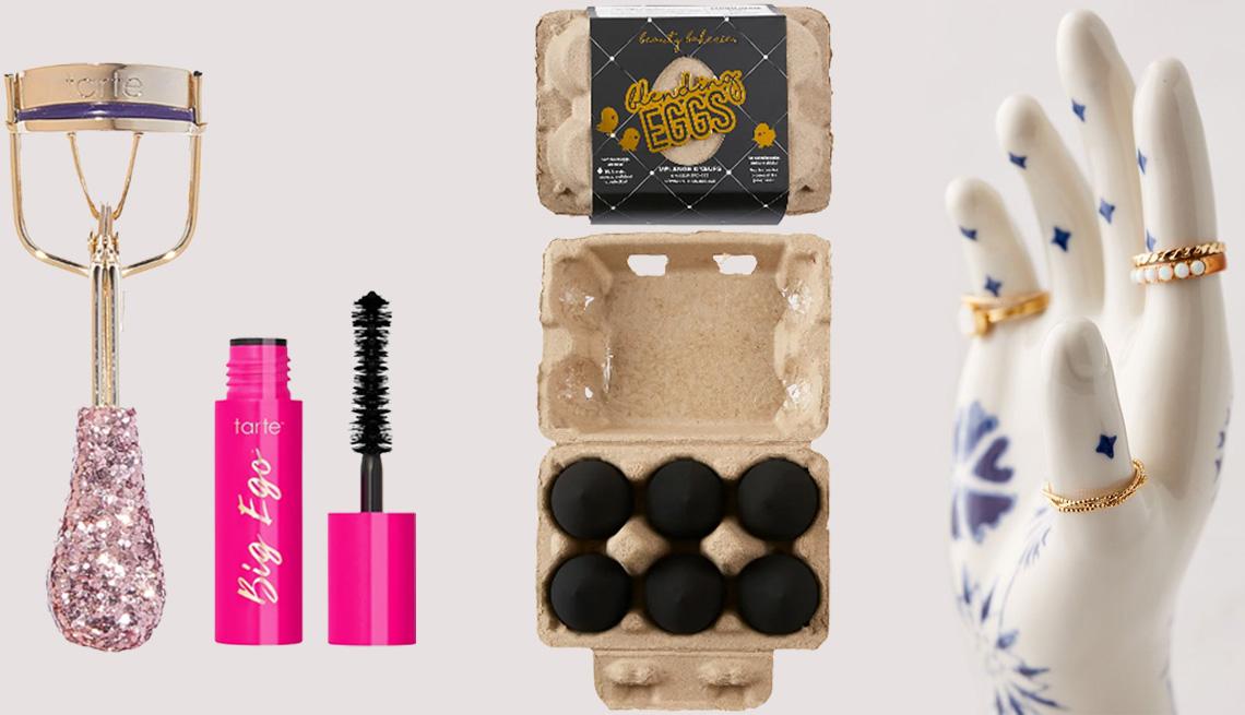 item 5 of Gallery image - Tarte Curl's Best Friend Lash Curler Set; Beauty Bakerie Black Blending Egg Makeup Sponge Set; Urban Outfitters Diana Ring Holder