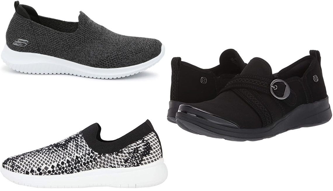 item 8 of Gallery image - Skechers Ultra-Flex Harmonious Slip-On Sneaker Women's in black/charcoal; Bzees Indigo in Black CloudLite Mesh; Blondo Karen Waterproof Knit Sneaker in Black/White Knit