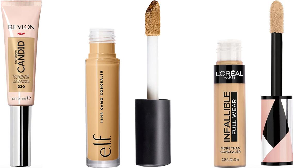 item 3 of Gallery image - (De izquierda a derecha) Revlon PhotoReady Candid Antioxidant Concealer; e.l.f. Cosmetics 16 HR Camo Concealer; L'Oréal Paris Infallible Full Wear Waterproof Concealer.