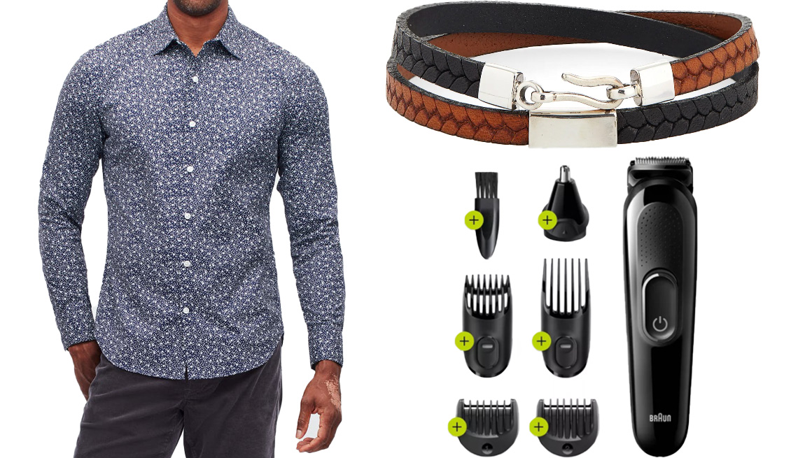 item 3 of Gallery image - Bonobos Tech Button Down Shirt in navy bellflower floral; Caputo & Co. Embossed Leather Wrap Bracelet in black/tan; Braun MGK3220 6-in-1 Men's Rechargeable Wet & Dry Electric Shaver & Trimmer Kit for Beard and Hair