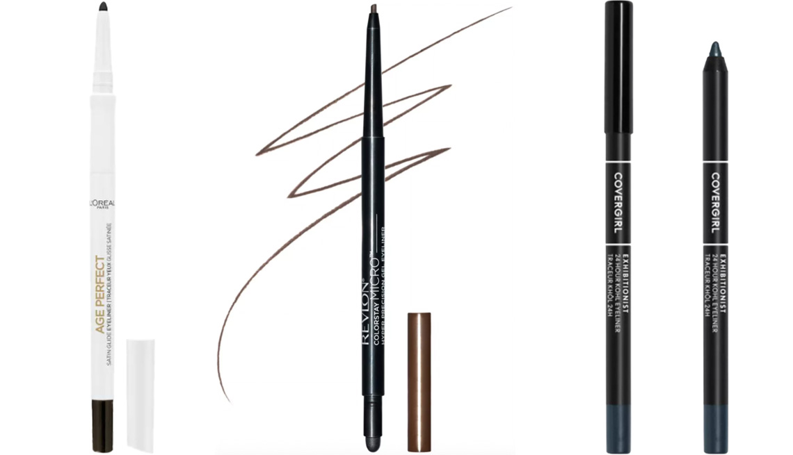 item 8 of Gallery image - L'Oréal Paris Age Perfect Satin Glide Eyeliner with Mineral Pigments in black; Revlon ColorStay Micro Hyper Precision Gel Eyeliner in brown; CoverGirl 24HR Kohl Liner in charcoal