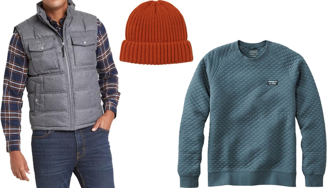 item 4 of Gallery image - Goodfellow & Co Men's Fullzip Midweight Puffer Vest in charcoal gray; H&M Men's Rib Knit Hat in rust orange; L.L. Bean Men's Quilted Sweatshirt Crewneck in storm blue