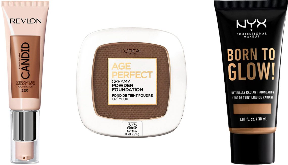 item 1 of Gallery image - Revlon PhotoReady Candid Foundation; L'Oréal Paris Age Perfect Creamy Powder Foundation with Minerals; NYX Professional Makeup Born to Glow Naturally Radiant Foundation