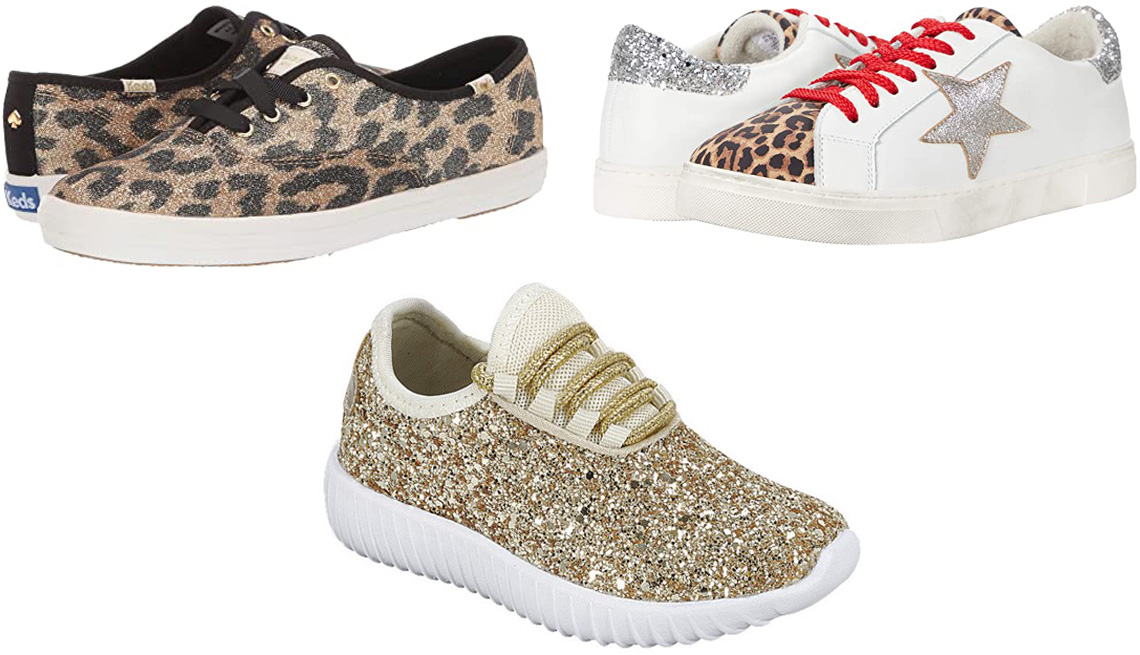 item 7 of Gallery image - Kids x Kate Spade New York Champion Leopard in Tan Multi Glitter; Steven New York Rubie in White Leopard; Forever Link Remy Women Sequin Lightweight Glitter Sneakers in gold