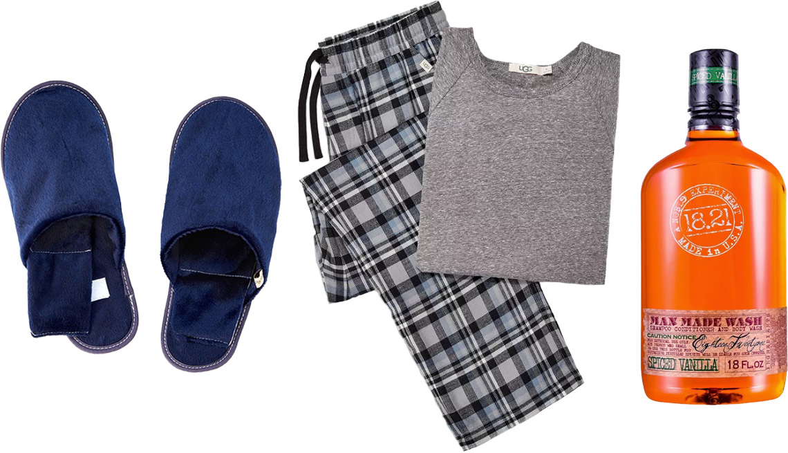 item 8 of Gallery image - Uncommon Goods Men's Herbal Warming Slippers; UGG Steiner Pajama Gift Set for Men in blue plaid/gray heather; 18.21 Man Made Spiced Vanilla Shampoo, Conditioner and Body Wash