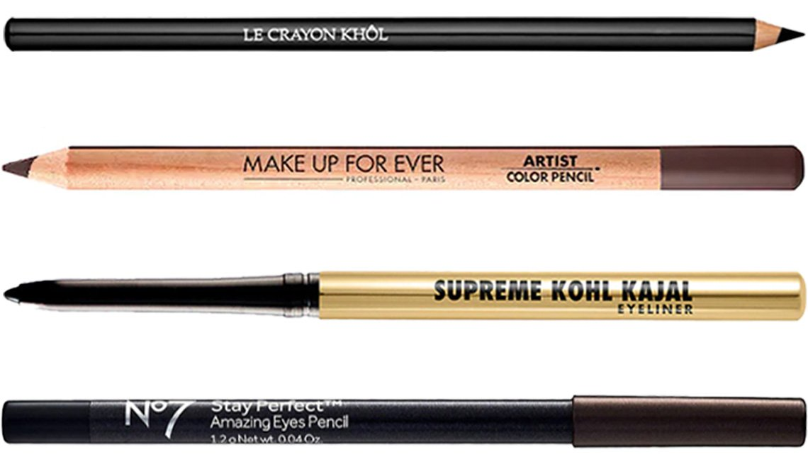 item 3 of Gallery image - Lancôme Le Crayon Khôl EyeLiner in Black Ebony; Make Up for Ever Artist Color Pencil in 612 Dimension Dark Brown; Milani Supreme Kohl Kajal Eyeliner Pencil in Blackest Black; No7 Stay Perfect Amazing Eyes Pencil in brown