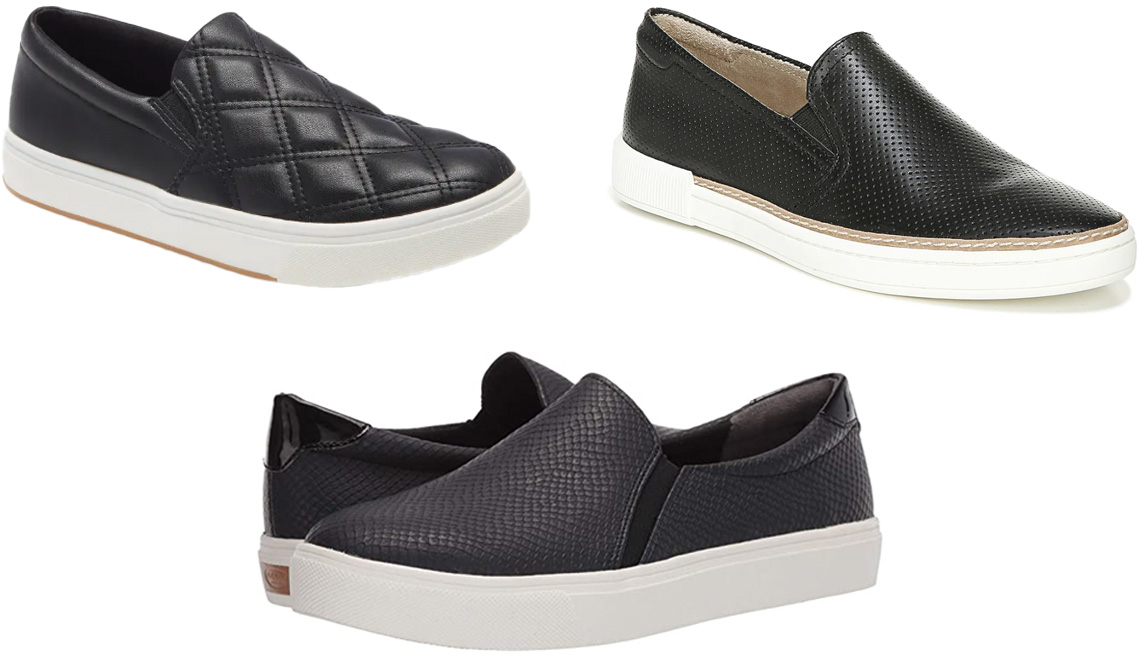 item 3 of Gallery image - Steve Madden Coulter Quilted Slip-On Sneaker in black; Naturalizer Zola Slip-On Sneaker in black; Dr. Scholl's Nova in black