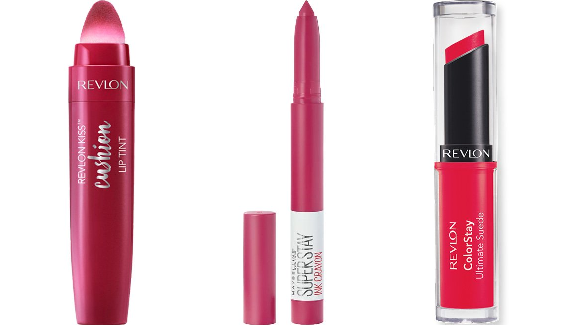 item 11 of Gallery image - Revlon Kiss Cushion Lip Tint in naughty mauve; Maybelline SuperStay Ink Crayon Lipstick in treat yourself; Revlon ColorStay Ultimate Suede Lipstick in finale