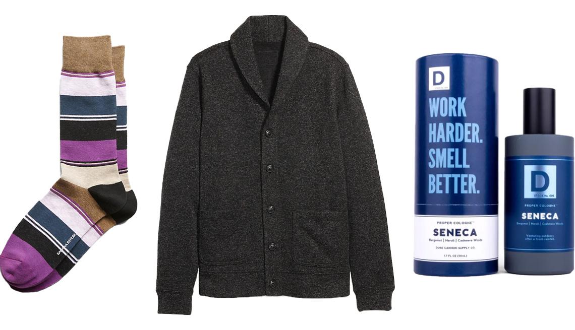item 1 of Gallery image - Banana Republic Color-Block Sock in brown multi; Old Navy Sweater-Fleece Shawl-Collar Cardigan for Men in black/gray marl; Duke Cannon Aquatic & Fresh Woods Seneca Men's Proper Cologne