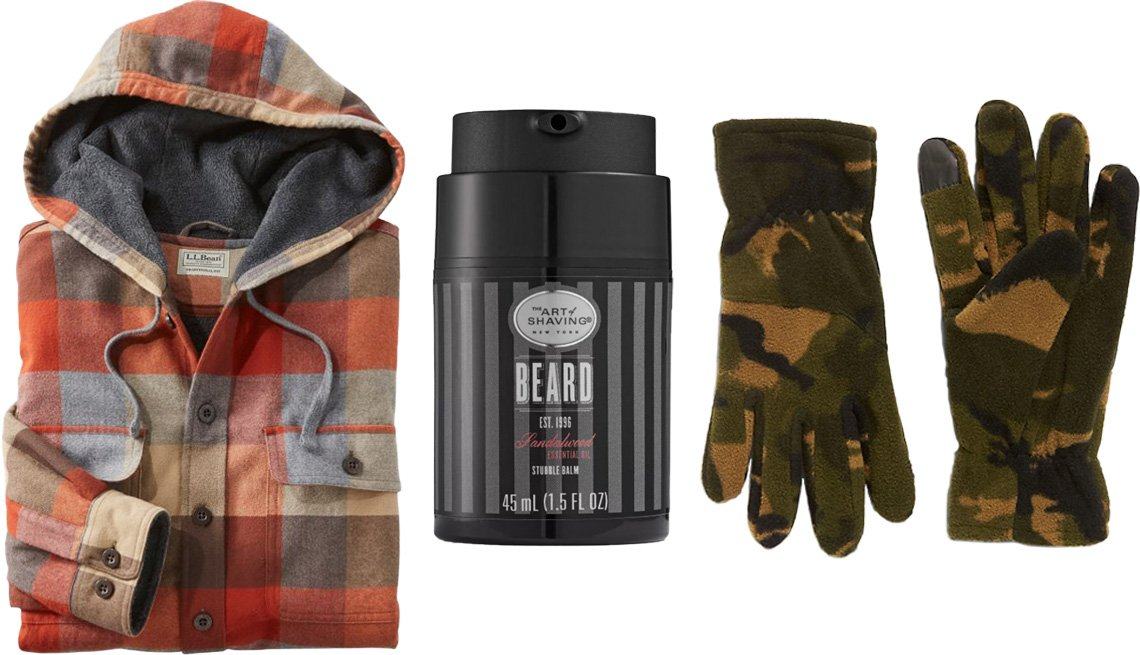 item 6 of Gallery image - L.L. Bean Men's Fleece-lined Flannel Shirt, Traditional Fit, Hooded in apple cinnamon heather; The Art of Shaving Men's Sandalwood Stubble Beard Balm; Old Navy Go-Warm Performance Fleece Text-Friendly Gloves for Men in camo