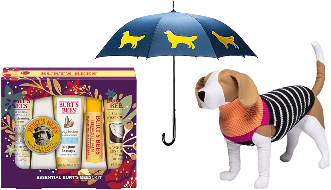 item 6 of Gallery image - Burt's Bees Essentials Kit; Choose Your Dog Breed Umbrella; Boots & Barkley Holiday Dog and Cat Striped Sweater