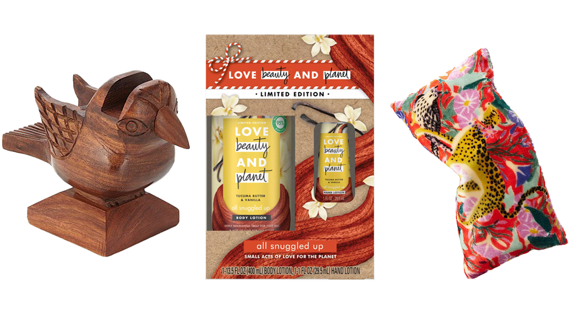 item 10 of Gallery image - Songbird Eyeglasses Holder; Love Beauty & Planet Tucuma Butter and Vanilla Body Lotion + Hand Lotion Gift Pack Set; Lil Sire Tigressa Velvet Eye Pillow in red motif