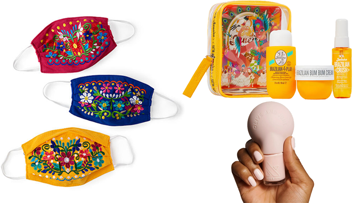 item 9 of Gallery image - Chiapas Flores Face Mask in yellow, red or blue; Sol de Janeiro Carnaval Flight Set; Olive & June The Poppy Manicure Tool