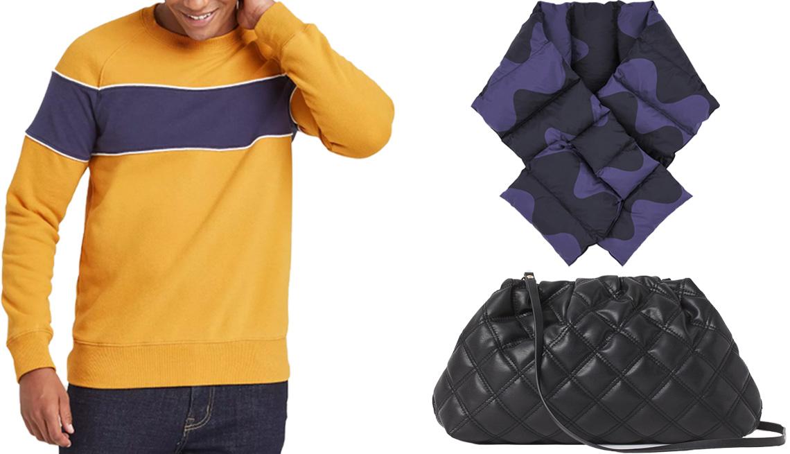 item 2 of Gallery image - Goodfellow & Co Men's Colorblock Regular Fit Crew Fleece; Uniqlo Women's Padded Marimekko Scarf in 68 blue; H&M Quilted Shoulder Bag in black