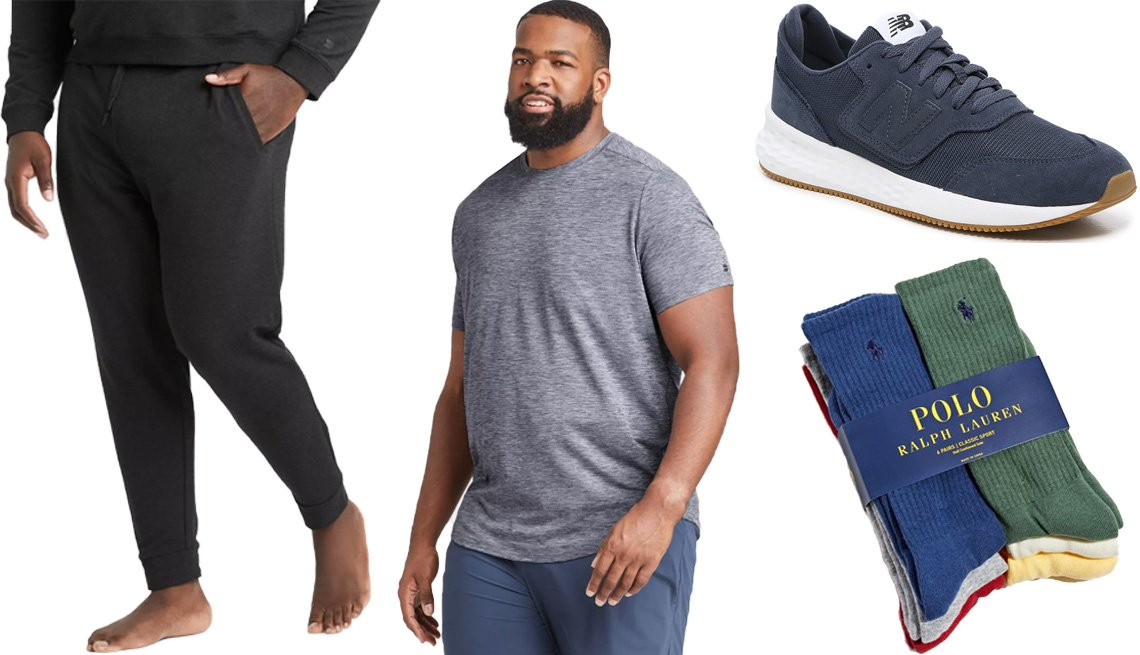 item 2 of Gallery image - All in Motion Men's Soft Gym Pants in black; All in Motion Men's Short Sleeve Soft Gym T-Shirt in navy; Men's New Balance Fresh Foam X70 Sneaker in navy; Polo Ralph Lauren UO Exclusive Athletic Crew Socks Pack