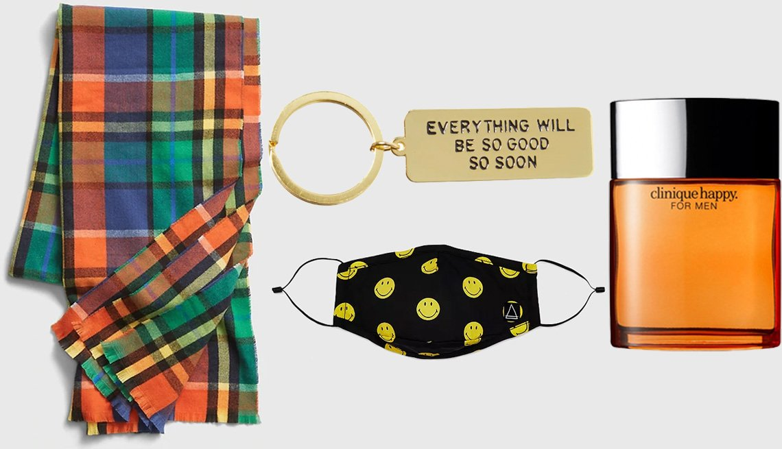 item 10 of Gallery image - Gap Men's Recycled Cozy Scarf in multi plaid; AdamJK Everything Keychain; Eleven Paris Smiley Mask; Clinique Happy for Men Cologne Spray
