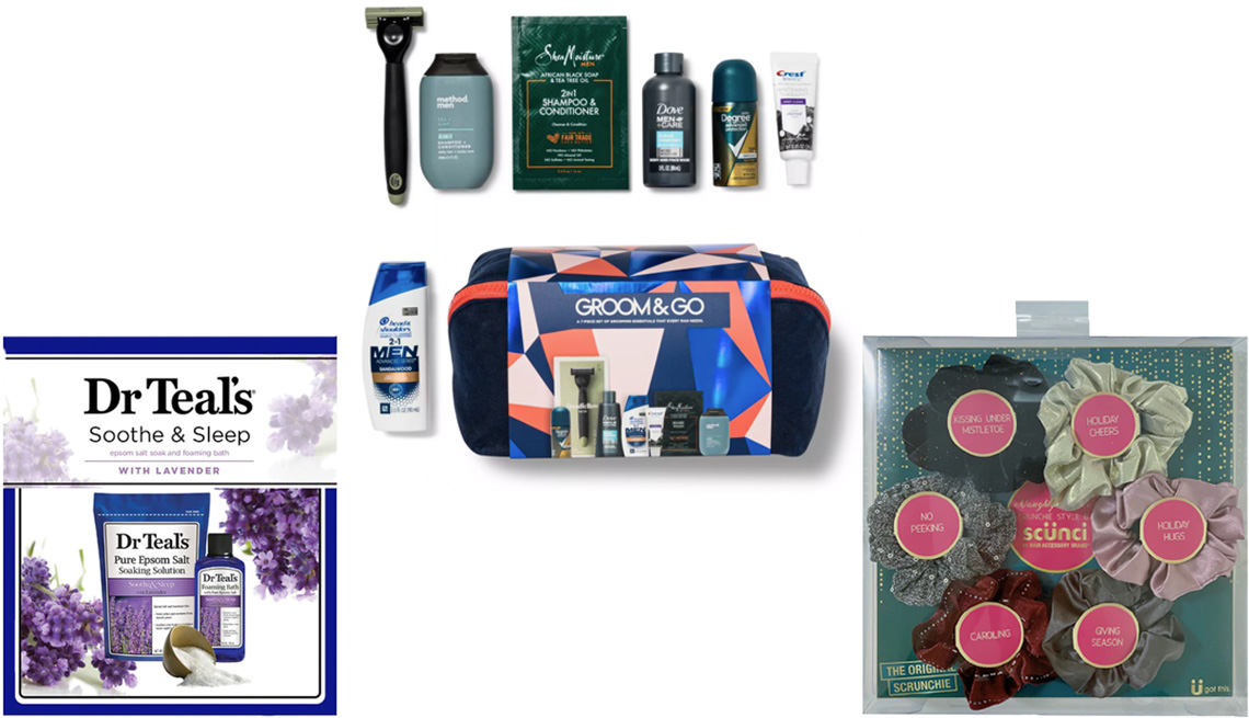 item 7 of Gallery image - Dr. Teal's Holiday Gift Set Lavender; Target Best of Box Groom and Go Men's Edition; Scunci Opulent Scrunchies Box