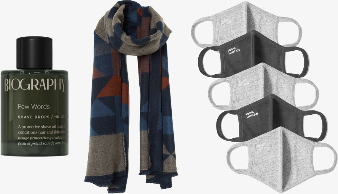 item 7 of Gallery image - Biography Few Words Shave Drops; H&M Men's Jacquard Weave Scarf in blue/patterned; Everlane The 100% Human Face Mask 5-Pack in grey/black