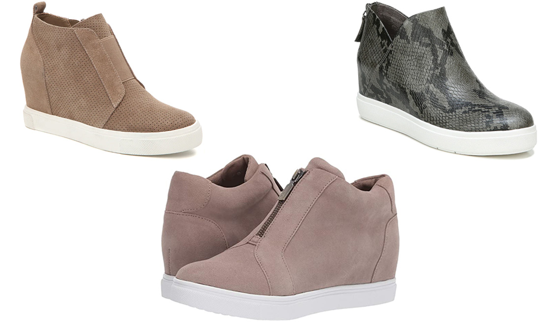 item 4 of Gallery image - Steve Madden Wavery Wedge Sneaker in taupe; Dr. Scholl's Madison Sneaker Bootie in grey; Blondo Glenda Waterproof in Mushroom Suede