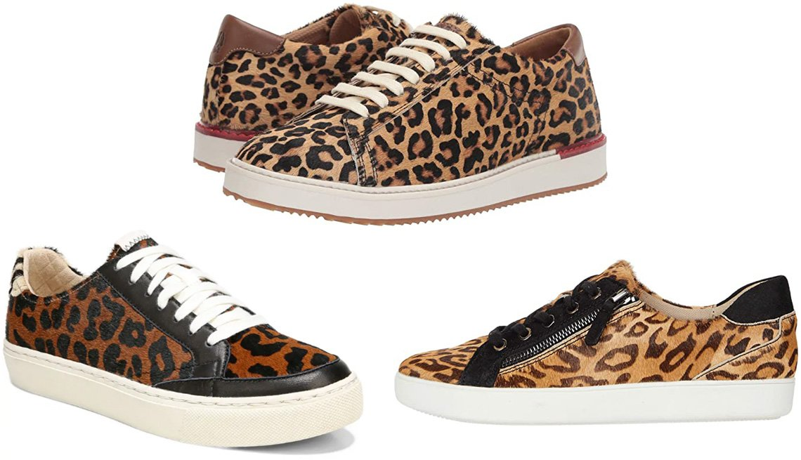 item 5 of Gallery image - Dr. Scholl's All In Platform Sneaker; Hush Puppies Sabine Sneaker in Leopard Haircalf; Naturalizer Macayla