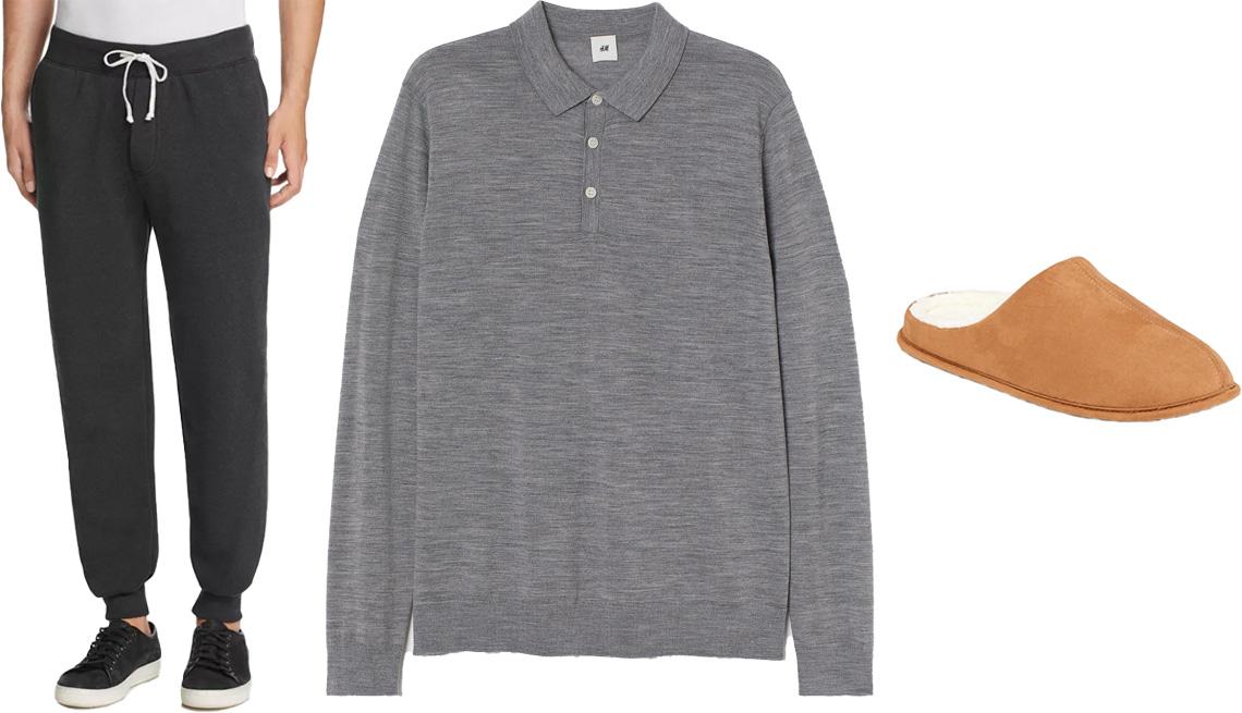 item 5 of Gallery image - Alternative Fleece Jogger Sweatpants in eco true black; H&M Men's Merino Wool Sweater in gray melange; Old Navy Faux-Suede Sherpa Lined Slide Slippers for Men in tan