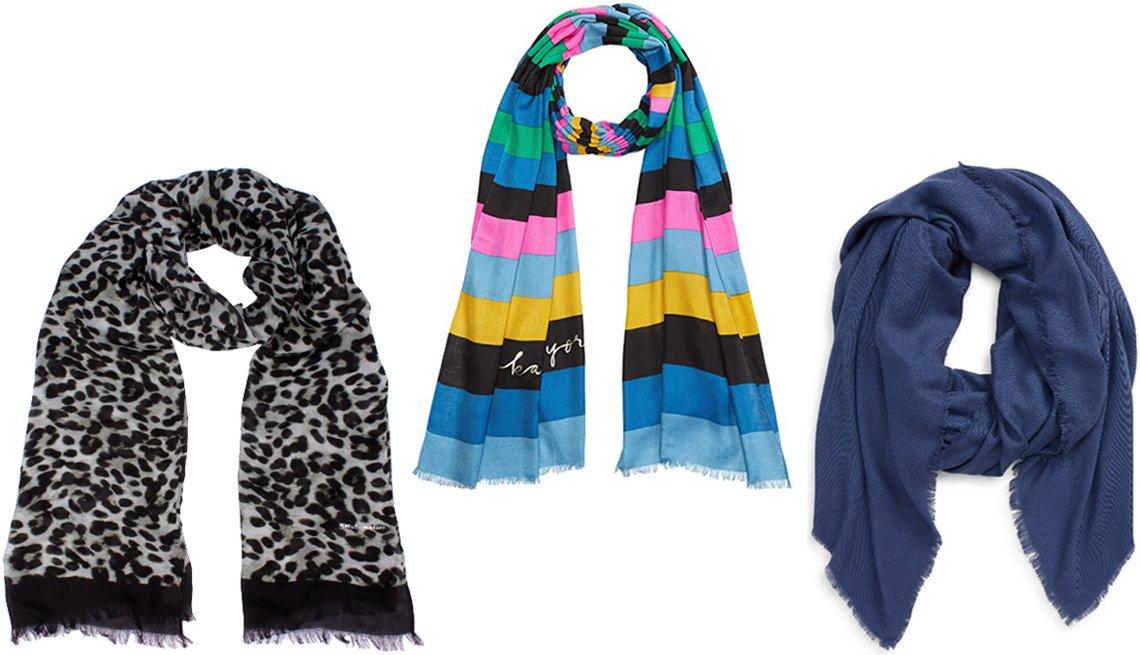 item 2 of Gallery image - Rebecca Minkoff Animal Print Scarf in Snow Leopard; Kate Spade New York Enchanted Stripe Oblong Scarf; Tasha Oversize Scarf in blue