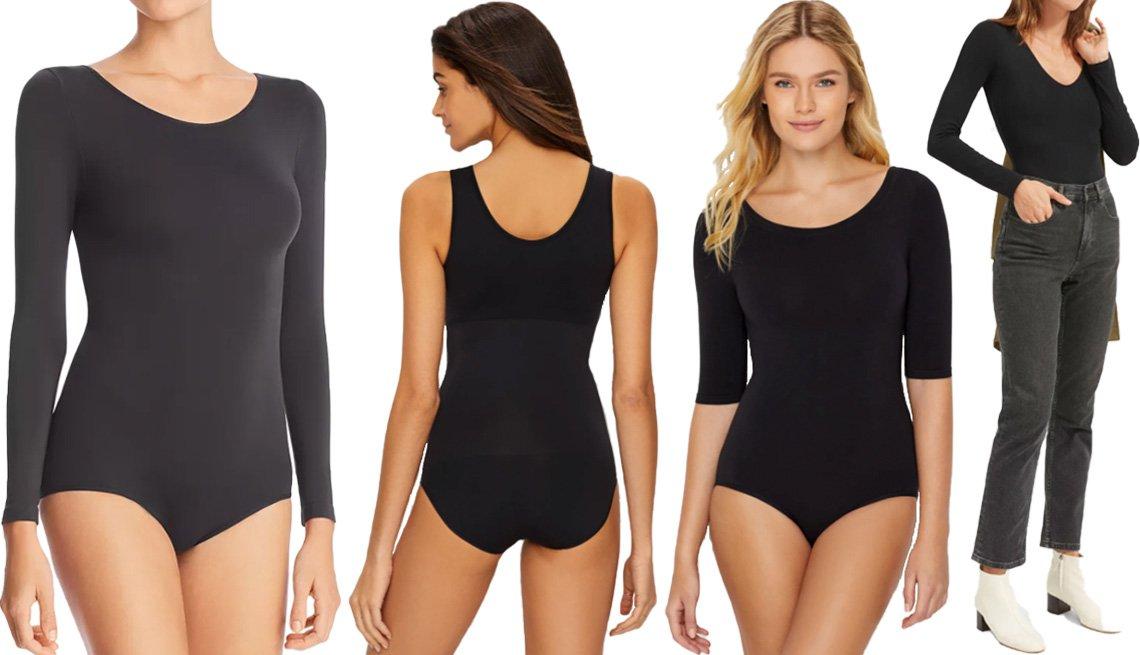 item 8 of Gallery image - DKNY Opaque Long Sleeve Bodysuit in black; Spanx The Base Tank Bodysuit in black; Yummie Ballet-Back Medium Control Bodysuit; Everlane The Long-Sleeve V-Neck Bodysuit in Bikini Fit in black