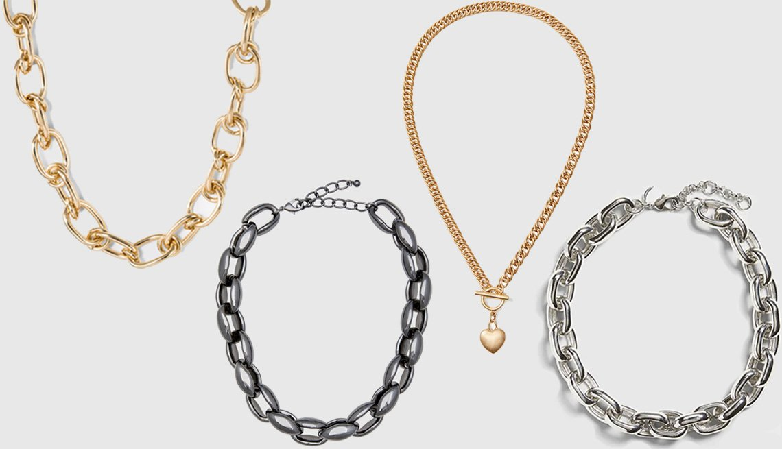 item 5 of Gallery image - A New Day Thick Chain Link Necklace in Gold; Eloquii Chunky Chain Necklace in Hematite; Loft Heart Y Necklace; Banana Republic Chunky Link Necklace