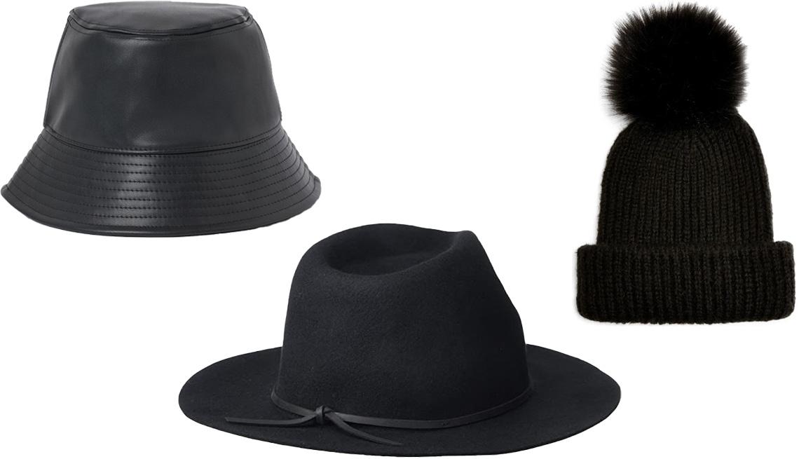 item 10 of Gallery image - Bucket Hat de H&M en cuero sintético negro (arriba a la izquierda); Wesley Fedora de Brixton en negro (abajo en el centro); Pom Beanie de Topshop (arriba a la derecha).