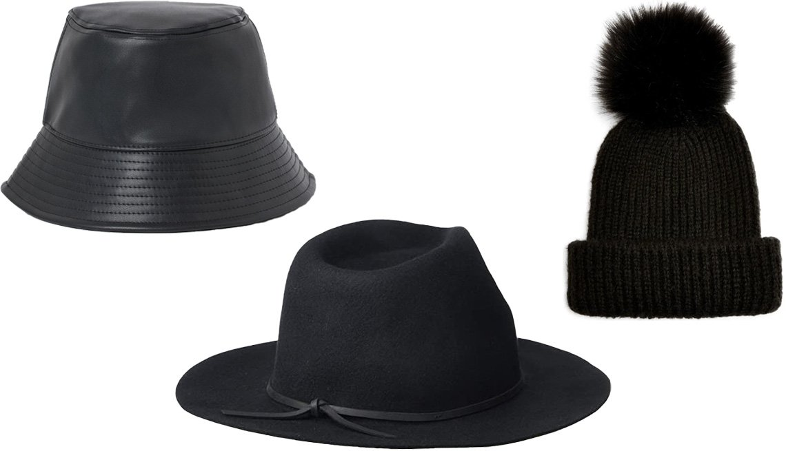 item 10 of Gallery image - H&M Bucket Hat in black faux leather; Brixton Wesley Fedora in black; Topshop Pom Beanie